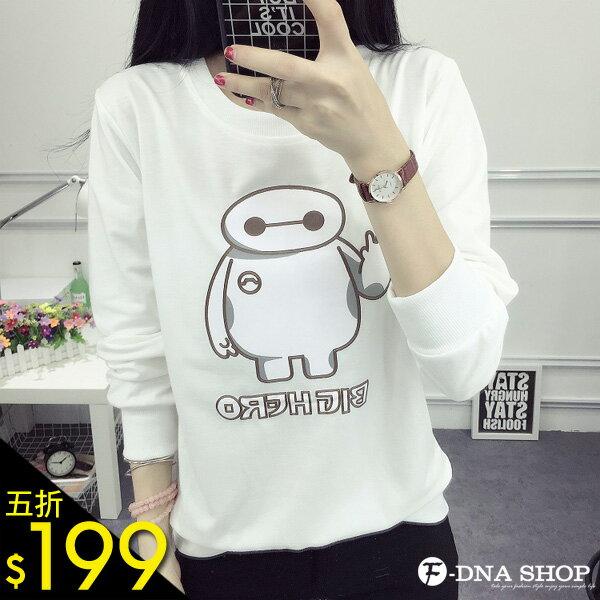 F~DNA~可愛大白卡通明星長袖上衣T恤^(3色~M~XL^)~ESR1718~ ~  好