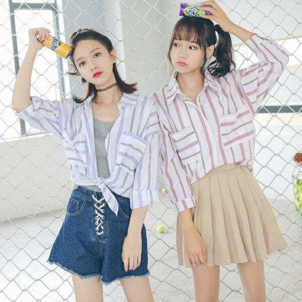 PS Mall 秋季新款條紋蝙蝠袖POLO領寬鬆長袖襯衫【T2641】