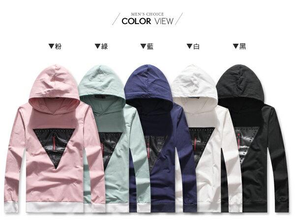 ☆BOY-2☆【NQ96025】美式幾何三角皮革拉鍊連帽T恤 1