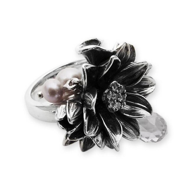 【海外訂購】【KONRON】公主珍珠花朵寶石純銀戒指-白色(KRR0535-cz-Clear) 1