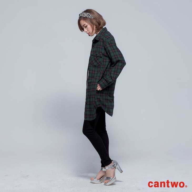 cantwo男友風格紋長版襯衫(共二色) 2