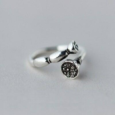 925純銀戒指開口戒~復古風格蓮藕 生日情人節 女飾品73dt328~ ~~米蘭 ~ ~