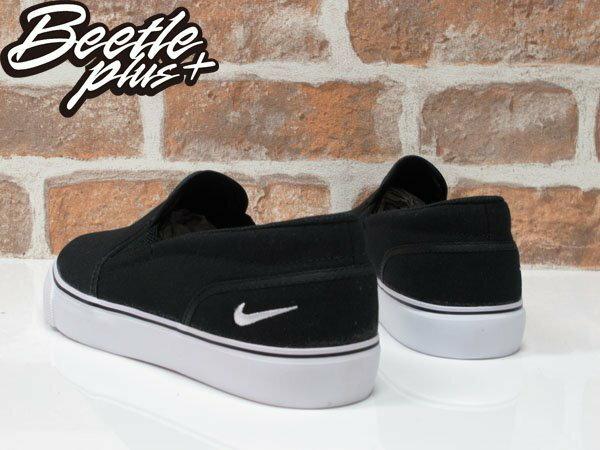 女鞋 BEETLE NIKE TOKI SLIP CANVAS 全黑 黑白 刺繡 懶人鞋 白勾 724770-010 1