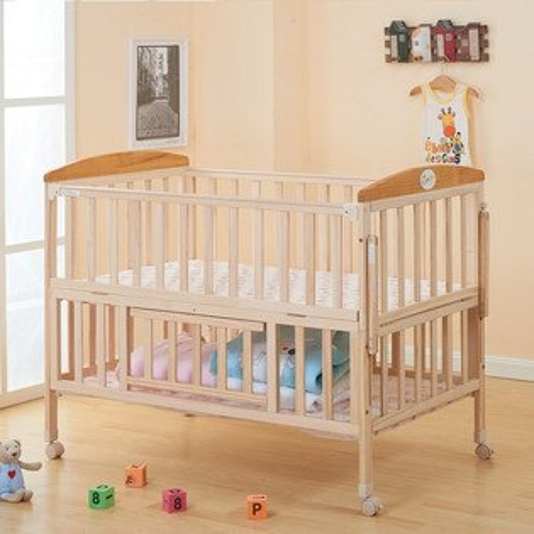 嬰兒床 實木嬰兒床 小床 加大嬰兒床 床圍 床護欄 遊戲床 附 蚊帳