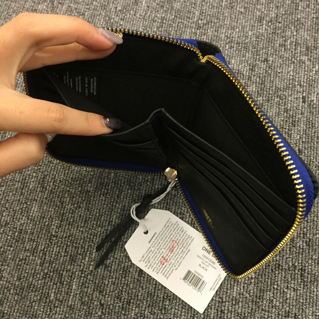 BEETLE 美國品牌 OBEY GENTRY ZIP AROUND WALLET 全黑 藍 卡夾 皮夾 短夾 100310086BLK OB-407 2