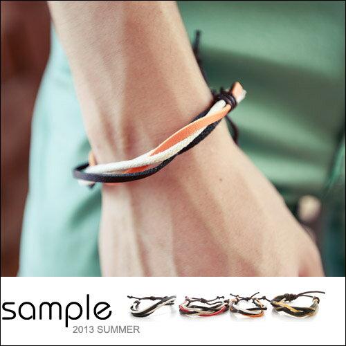 手環【Sample】棉麻+軟皮革收繩手環【SA5224】