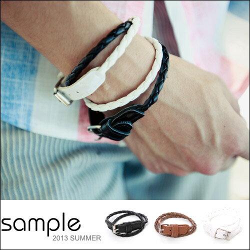 編織手環【Sample】編織皮革皮帶扣設計手環【SA5421】