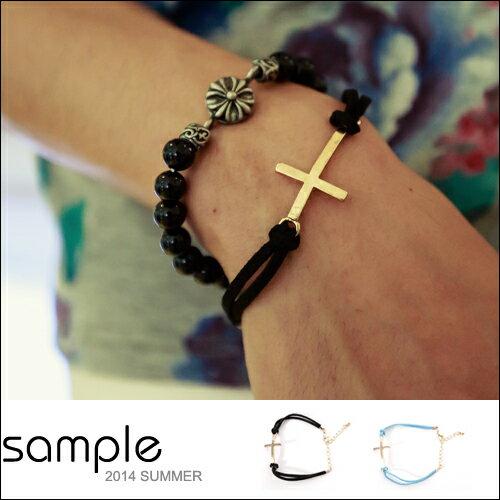 99UP 手環【Sample】仿古皮繩船錨 十字架手環【SA8326】