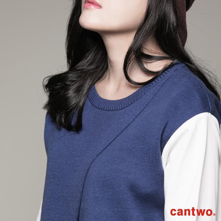 cantwo斜衩拼接假兩件針織上衣(共二色) 4