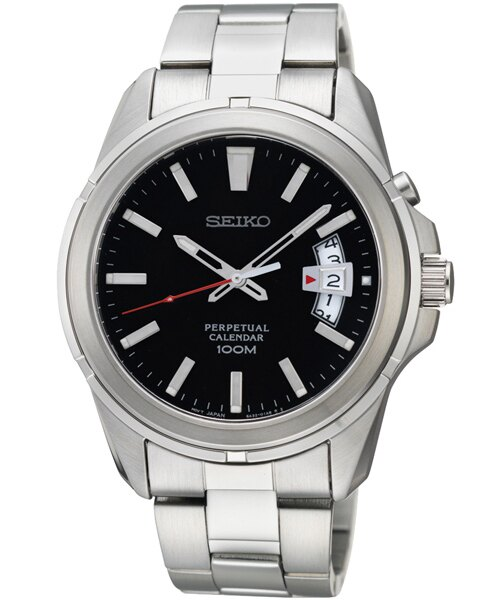 Seiko 6A32~00W0D萬年曆簡約腕錶 黑面40mm