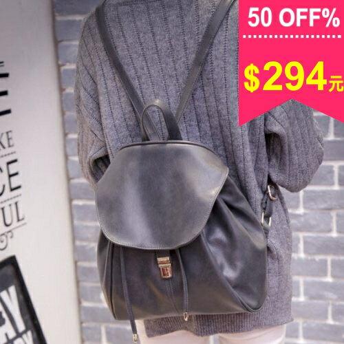 後背包-韓版新款女雙肩復古插鎖包 潮流時尚包 學生包 包飾衣院 P1594 現貨
