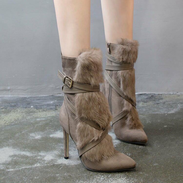大牌同款奢華名媛交叉裝飾 皮草中筒靴毛毛絨 高跟短靴 ~  好康折扣