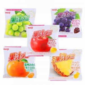 有樂町進口食品 日本 明治meiji100%果汁QQ糖5連包 (90g/條) 4902777071961 0