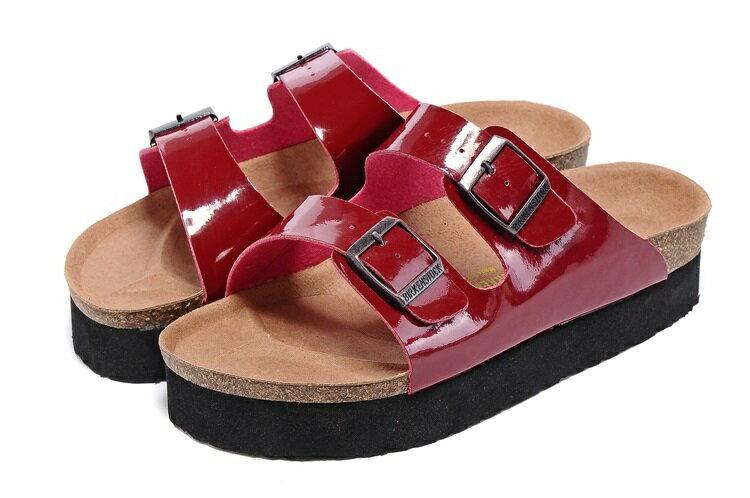 Arizona 厚底系列 夏季 男女款 懶人涼拖鞋 漆皮紅色 [Anson King]Outlet正品代購  birkenstock 0