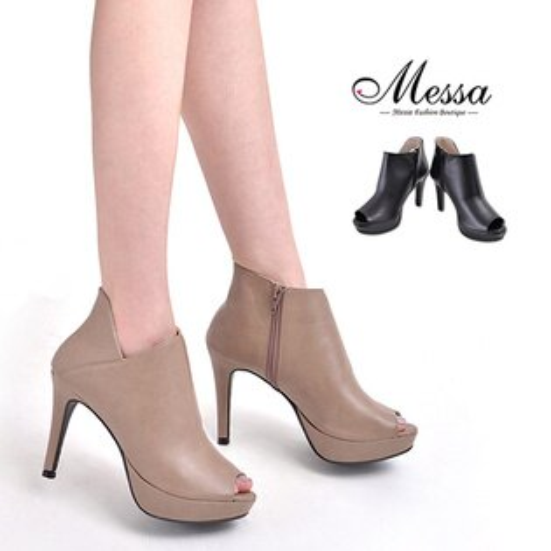 【Messa米莎專櫃女鞋】MIT 知性側V剪裁內真皮高跟魚口踝靴-二色