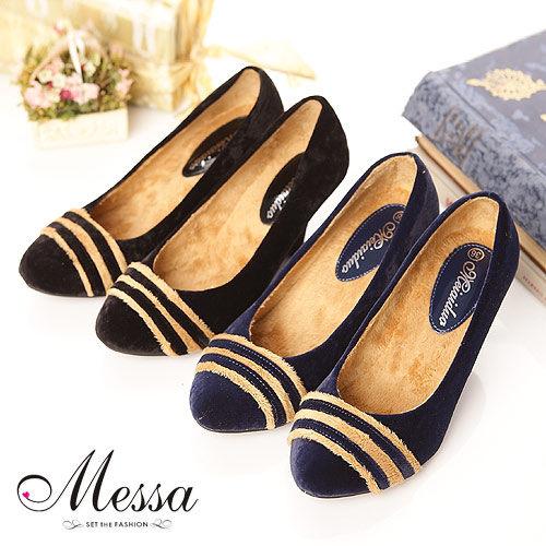 【Messa米莎】典雅環型曲線絨楔型高跟鞋(共兩色)