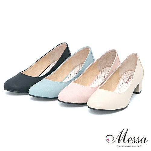 【Messa米莎】(MIT) 百搭新作素面內真皮低跟包鞋-四色