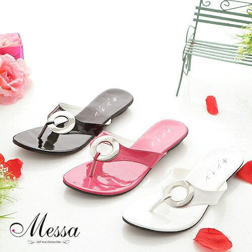 【Messa米莎】(MIT)豔夏金屬大釦環夾腳低跟涼拖鞋(共三色)