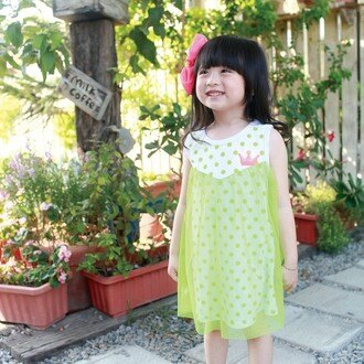【班比納精品童裝】點點網紗背心洋裝-綠黃