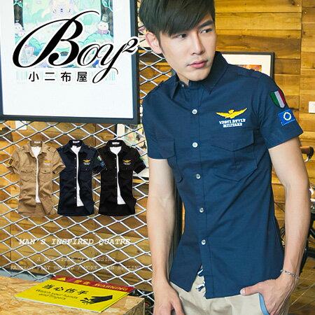 ☆BOY-2☆【PPK83008】短袖襯衫美式潮流軍裝雙口袋老鷹襯衫 0