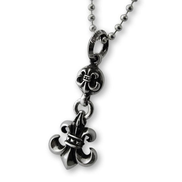 【海外訂購】【Chrome Hearts】球型連墜鳶尾花純銀項鍊(CHC-019BSF 0083430000) 0