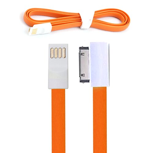 CABLE PLANO NARANAJA 30 PIN - USB PARA IPHONE 3G/3S/4G/4S, IPAD, IPOD... PARA CARGA Y TRANSFERENCIA DE DATOS 0