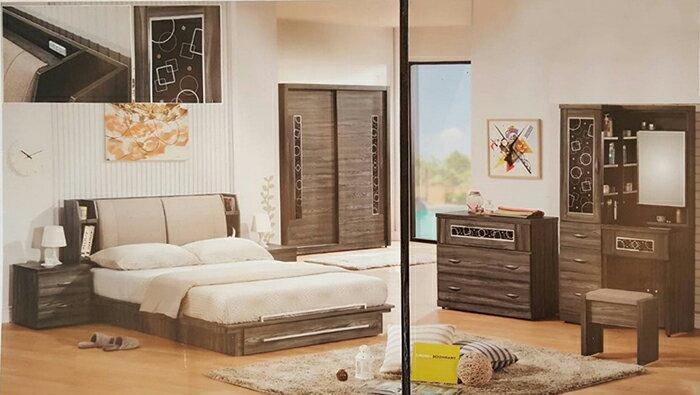 ~尚品傢俱~649~24 巴頓魯治5尺鐵刀色床頭箱 雅房 組 套房傢俱組 臥室櫥櫃床組 出