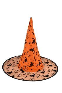 X射線【W405976】植絨尖頂帽(橘),萬聖節/派對/舞會道具/cosplay/角色扮演/巫婆/聖誕節/表演/巫師/園遊會/校慶
