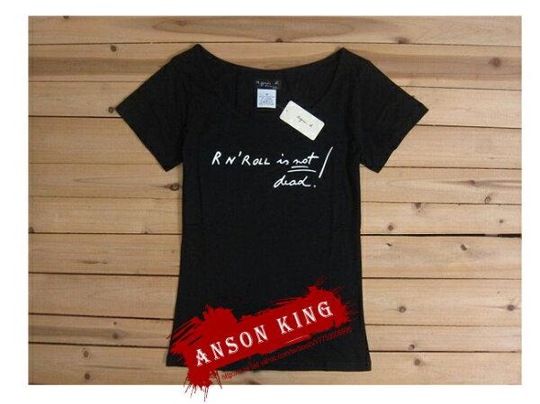 [Anson king]outlet國外代購 agnes b rook'rool 短袖 圓領 女款 T恤 黑