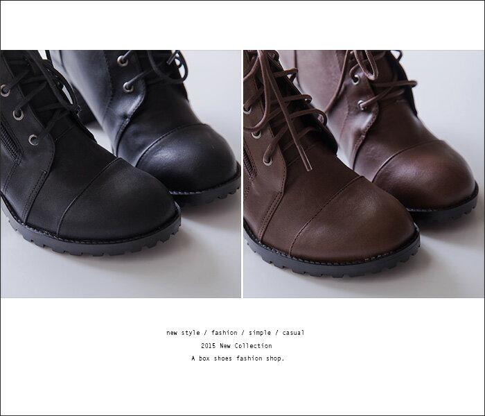 格子舖*【KW2192】MIT台灣製 嚴選韓版經本款 質感皮革馬丁靴 繫帶拉鍊粗高跟短靴 2色 1