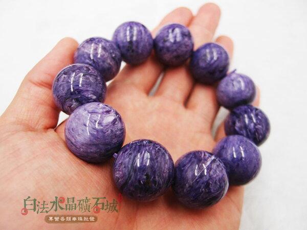 白法水晶礦石城 俄羅斯 天然-紫龍晶 極品 勻稱深紫色 20mm 串珠/條珠 首飾材料05