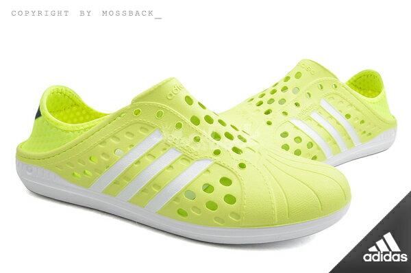 『Mossback』ADIDAS NEO COURT ADAPT 懶人鞋 防水 洞洞鞋 螢光黃(男女)NO:F97890