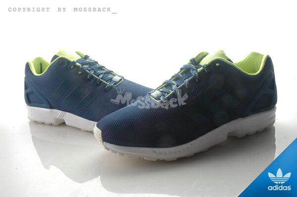 『Mossback』ADIDAS ZX FLUX 輕量 透氣 慢跑鞋 藍白螢綠(男)NO:S79101