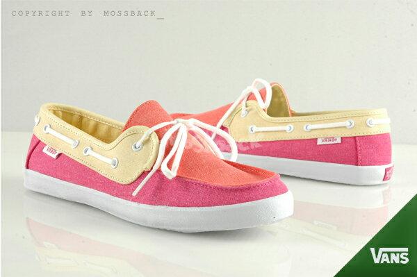 『Mossback』VANS CHAUFFETTE 帆船鞋 SURF系列 特殊鞋墊 黃粉紅(女)NO:41062123
