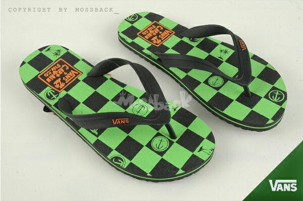 『Mossback』VANS LANAI 馬賽克 格紋 黃標 拖鞋 人字拖 黑綠(男)NO:41062130
