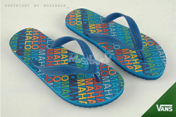 『Mossback』VANS LANAI 字母 防滑 拖鞋 沙灘 人字拖 藍色(男)NO:41062131