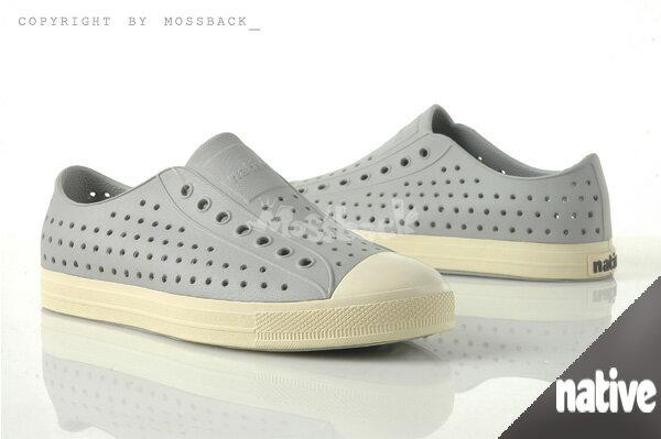 『Mossback』 NATIVE JEFFERSON 加拿大潮牌 奶油底 呼吸 懶人鞋 輕量 透氣 洞洞 涼拖鞋 灰色