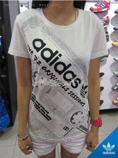 『Mossback』ADIDAS TAPE PRINT TEE 錄音帶 短袖 T恤 白色(女)NO:M30297