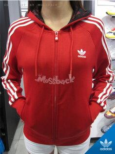 『Mossback』ADIDAS GIRLY ZIP HOODY 連帽 外套 白三線 紅色(女)NO:M30485
