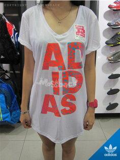 『Mossback』ADIDAS WILD LINEAGE 長板 短袖 T恤 字母 白色(女)NO:M68094