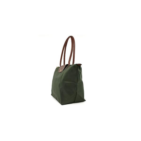 [長柄M號]國外Outlet代購正品 法國巴黎 Longchamp [1899-M號] 長柄 購物袋防水尼龍手提肩背水餃包 軍綠色 2