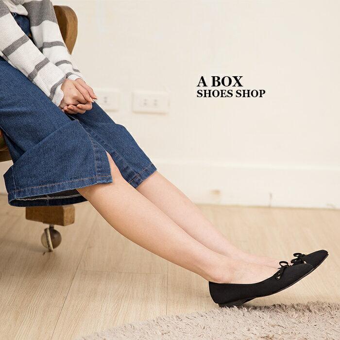格子舖*【ADW1686】MIT台灣製 超值百搭蝴蝶結 質感絨布 尖頭平底包鞋 娃娃鞋 懶人鞋 3色 1