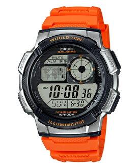 CASIO G-SHOCK AE-1000W-4B經典地圖數位腕錶/橘44mm
