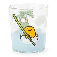 【真愛日本】16042700006玻璃水杯-GU划船椰島     三麗鷗家族 蛋黃哥 Gudetama   玻璃杯 水杯 正品