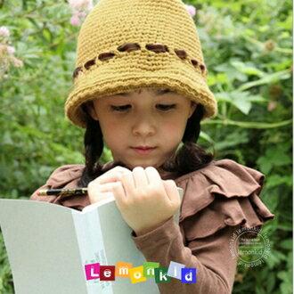 WallFree窩自在~韓國 純 編織綁帶蝴蝶結裝飾兒童氣質毛線帽 ~  好康折扣
