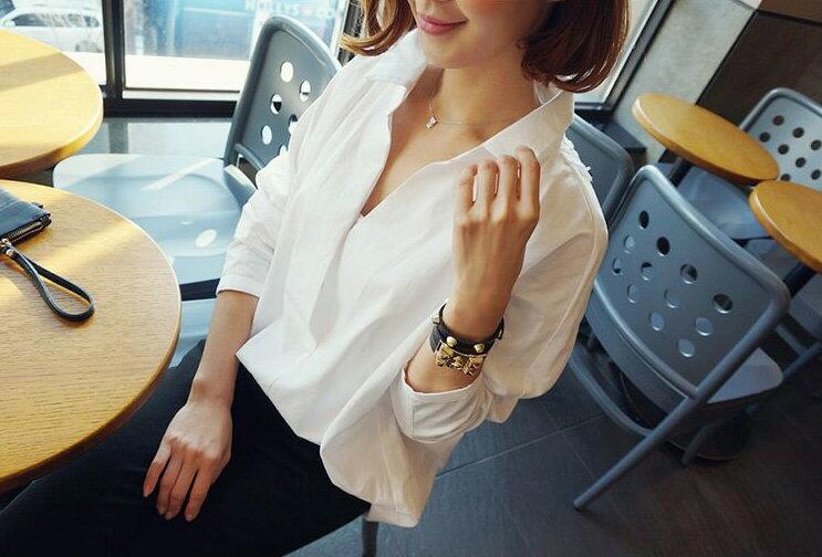 長袖襯衫 性感蕾絲拼接前後雙深V領襯衫 艾爾莎【TAE2420】 1