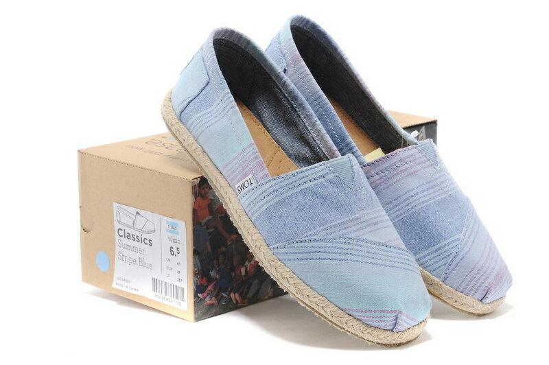 [女款] 國外代購TOMS 帆布鞋/懶人鞋/休閒鞋/至尊鞋 亞麻系列  亞麻底彩條藍 0