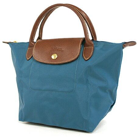 [短柄S號]國外Outlet代購正品 法國巴黎 Longchamp [1621-S號] 短柄 購物袋防水尼龍手提肩背水餃包 孔雀藍 0