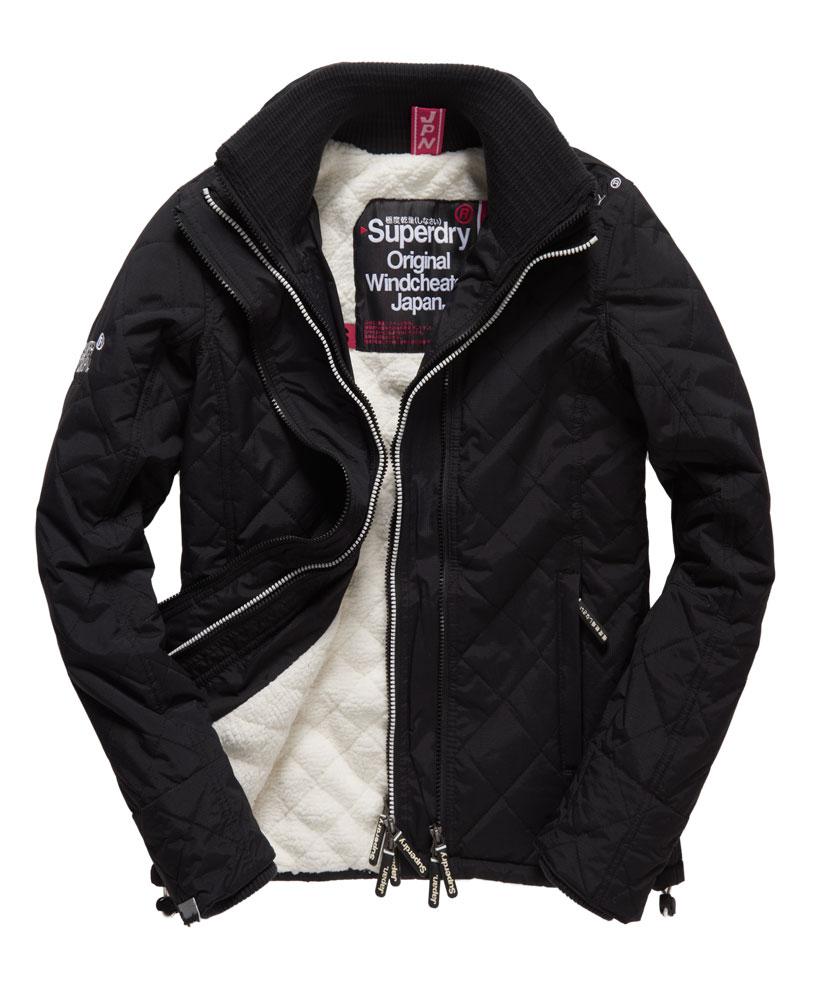 [女款] Outlet英國 極度乾燥 Superdry Hooded Sherpa 加厚保暖菱格紋絎縫羊羔絨防風衣 女款 黑 0