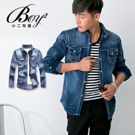 ☆BOY-2☆【NQ97015】美式刺繡口袋牛仔襯衫 0